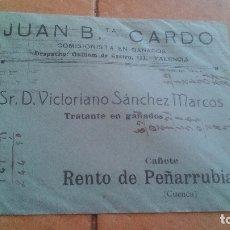 Sellos: 1926 - JUAN BAUTISTA CARDO (COMISIONISTA, IMPORTADOR DE GANADO) (VALENCIA) - SOBRE CIRCULADO. Lote 169949504
