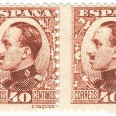 Sellos: PAREJA CON ERROR DE COLOR (CASTAÑO CLARO) - 1930-1931 ALFONSO XIII - 40 CÉNTIMOS, 497 (EDIFIL). Lote 169996812
