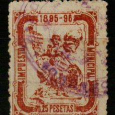 Sellos: AYUNTAMIENTO DE MADRID. IMPUESTO MUNICIPAL. 1895. 0,25 PESETAS PARDO. Lote 170146881
