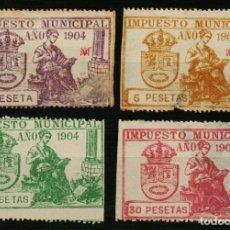 Sellos: AYUNTAMIENTO DE MADRID. IMPUESTO MUNICIPAL. 1904. 4 VALORES. Lote 170147392