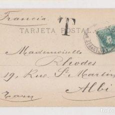 Sellos: POSTAL DE FUENTERRABÍA. DE IRÚN A FRANCIA. 1905. CON SELLO DE 5 CTS Y TASADA. Lote 170347596