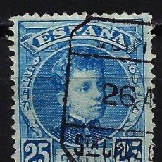 Sellos: ESPAÑA 1901-1905 - EDIFIL 248 - ALFONSO XIII TIPO CADETE - 25 CTS - USADO - CARTERÍA SANTA CRUZ DE T. Lote 170402872