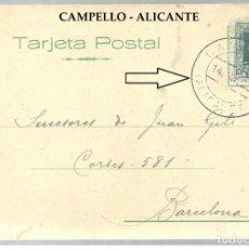 Sellos: CAMPELLO - ALICANTE - POSTAL PRIVADA ORATORIO SALESIANO - CIRCULADA EN 1928 - RARA DE VER. Lote 170518576