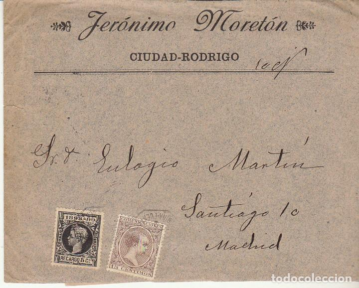 CIUDAD RODRIGO (SALAMANCA ) A MADRID.1899. (Sellos - España - Alfonso XIII de 1.886 a 1.931 - Cartas)