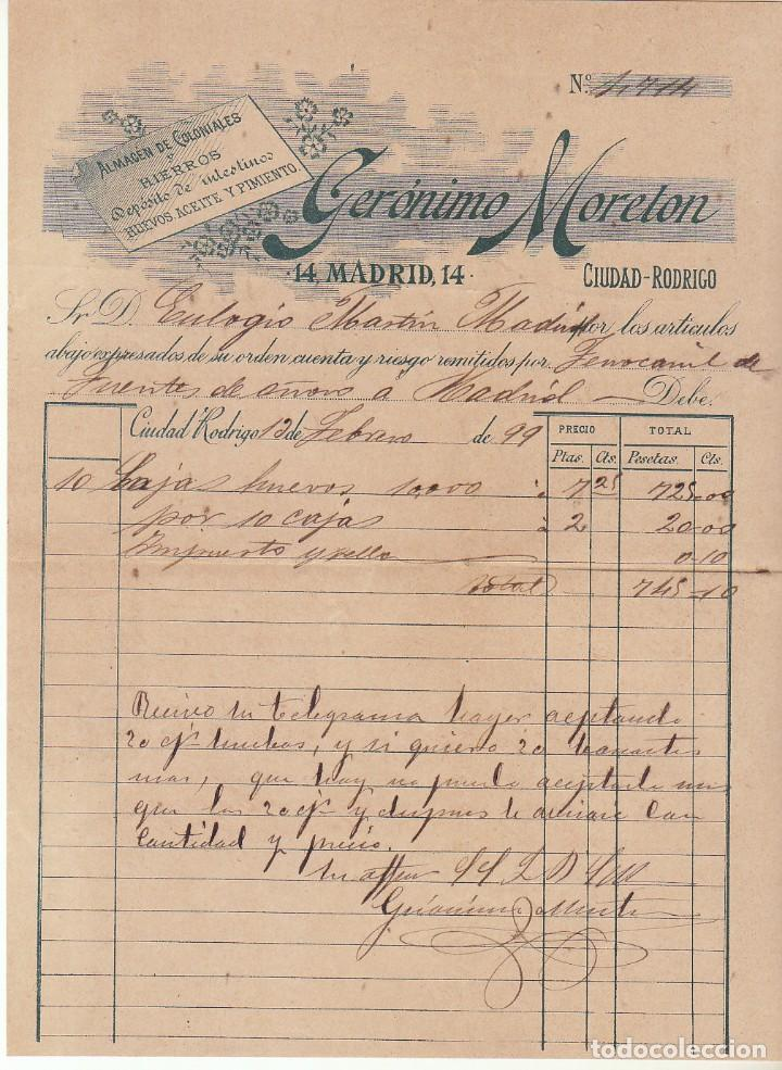 Sellos: CIUDAD RODRIGO (SALAMANCA ) a MADRID.1899. - Foto 3 - 170862795
