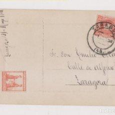 Sellos: POSTAL. CORREO INTERIOR DE ZARAGOZA. 1908. CON RARA VIÑETA CENTENARIO DE LOS SITIOS.. Lote 171169144