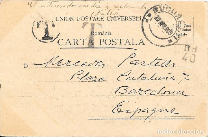 CORREO TASADO. RUMANIA. POSTAL CIRCULADA DE BUCAREST A BARCELONA.1903 (Sellos - España - Alfonso XIII de 1.886 a 1.931 - Cartas)