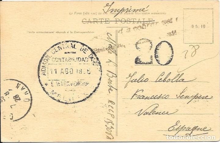 CORREO TASADO. ARGELIA. POSTAL CIRCULADA DE ORAN A VALENCIA. 1919 (Sellos - España - Alfonso XIII de 1.886 a 1.931 - Cartas)