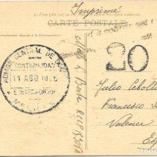 Sellos: CORREO TASADO. ARGELIA. POSTAL CIRCULADA DE ORAN A VALENCIA. 1919. Lote 171226704