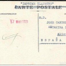 Sellos: CORREO TASADO. ARGELIA. POSTAL CIRCULADA DE ORAN A ALICANTE. 1921. Lote 171226965