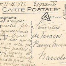 Sellos: CORREO TASADO. FRANCIA. POSTAL CIRCULADA DE BURDEOS A BARCELONA. 1922. Lote 171227229