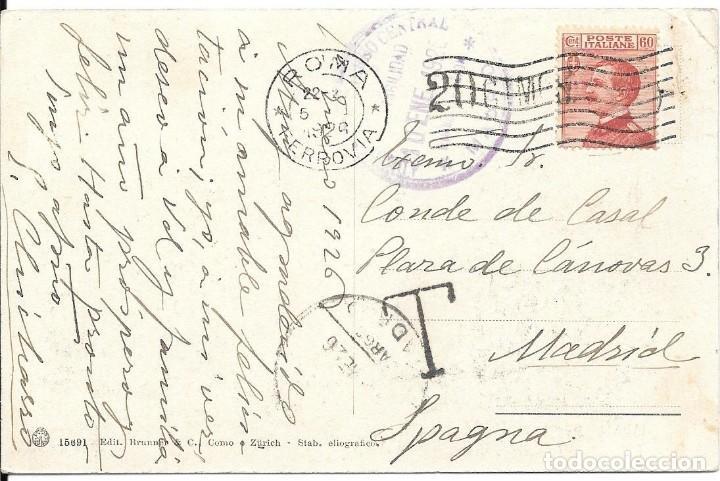 CORREO TASADO. ITALIA. POSTAL CIRCULADA DE ROMA A MADRID. 1926 (Sellos - España - Alfonso XIII de 1.886 a 1.931 - Cartas)