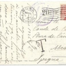 Sellos: CORREO TASADO. ITALIA. POSTAL CIRCULADA DE ROMA A MADRID. 1926. Lote 171227615