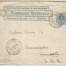 Sellos: BILBAO A USA 1916 MAT SUCURSAL SELLO MEDALLON ALFONSO XIII. Lote 171228178
