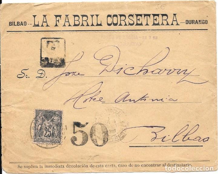 CORREO TASADO. FRANCIA. SOBRE CIRCULADO DE BAYONA A BILABO. (Sellos - España - Alfonso XIII de 1.886 a 1.931 - Cartas)