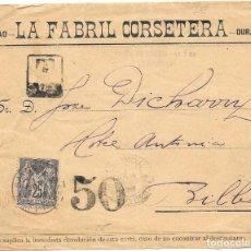 Sellos: CORREO TASADO. FRANCIA. SOBRE CIRCULADO DE BAYONA A BILABO. . Lote 171229215