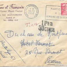 Sellos: CORREO TASADO. FRANCIA. SOBRE CIRCULADO EN EL INTERIOR DE PARIS Y REEXPEDIDO A MADRID. . Lote 171229975