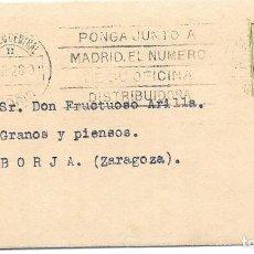 Sellos: IMPRESO CIRCULADO DE MADRID A BORJA - ZARAGOZA. 1928. Lote 171232753