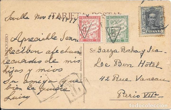 CORREO TASADO. POSTAL CIRCULADA DE SEVILLA A PARIS. 1927 (Sellos - España - Alfonso XIII de 1.886 a 1.931 - Cartas)