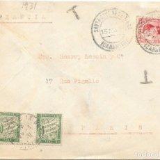 Sellos: CORREO TASADO. SOBRE CIRCULADO DE SANTA CRUZ DE TENERIFE A PARIS 1931. Lote 171234818