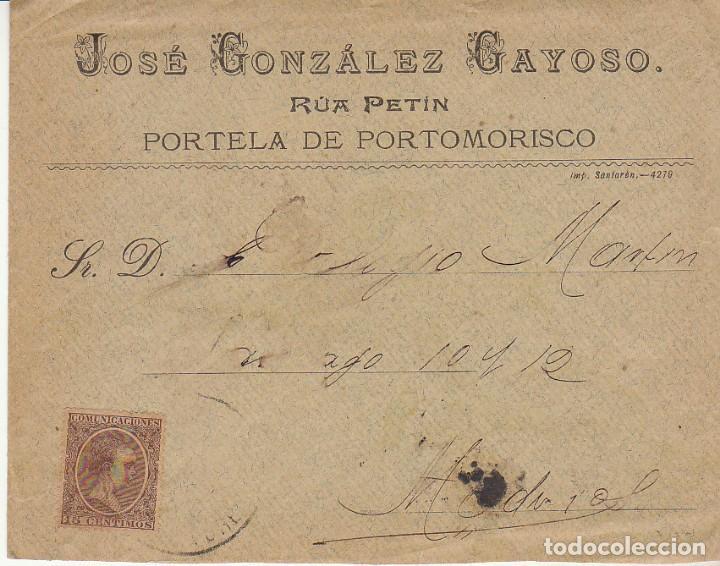 SELLO 219. ALFONSO XIII. PORTELA DE PORTOMORISCO (ORENSE) A MADRID.1900. (Sellos - España - Alfonso XIII de 1.886 a 1.931 - Cartas)