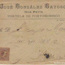 Sellos: SELLO 219. ALFONSO XIII. PORTELA DE PORTOMORISCO (ORENSE) A MADRID.1900.. Lote 171251797
