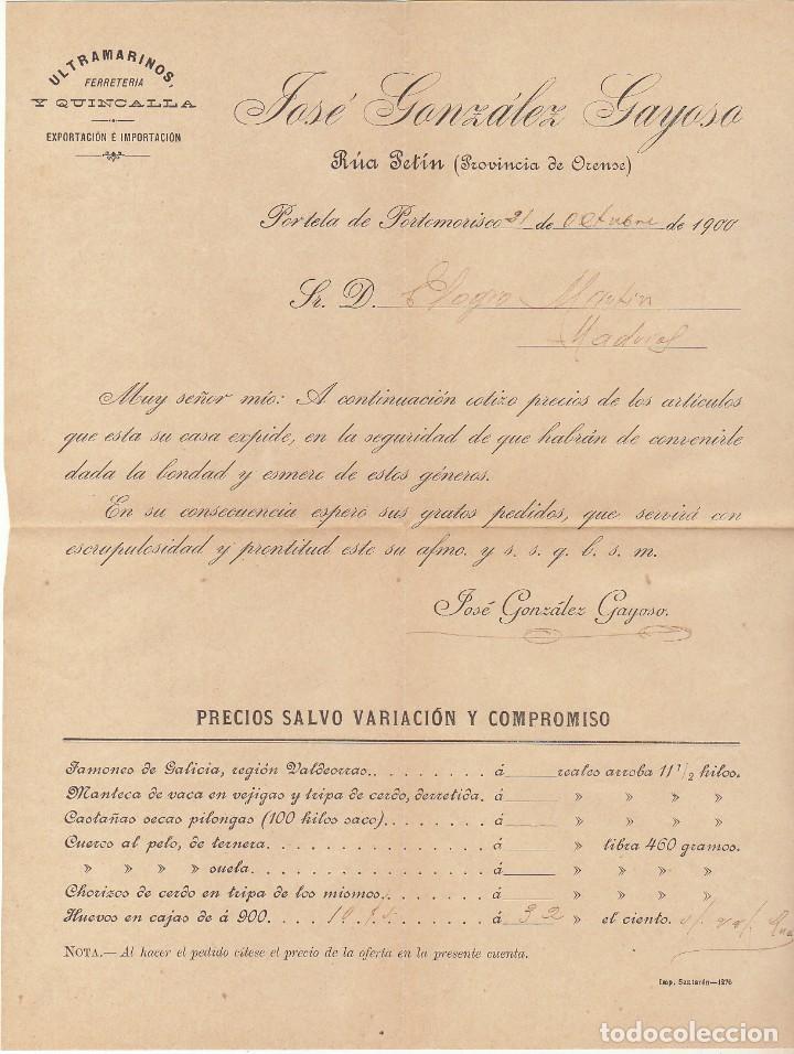 Sellos: Sello 219. ALFONSO XIII. PORTELA de PORTOMORISCO (ORENSE) a MADRID.1900. - Foto 2 - 171251797