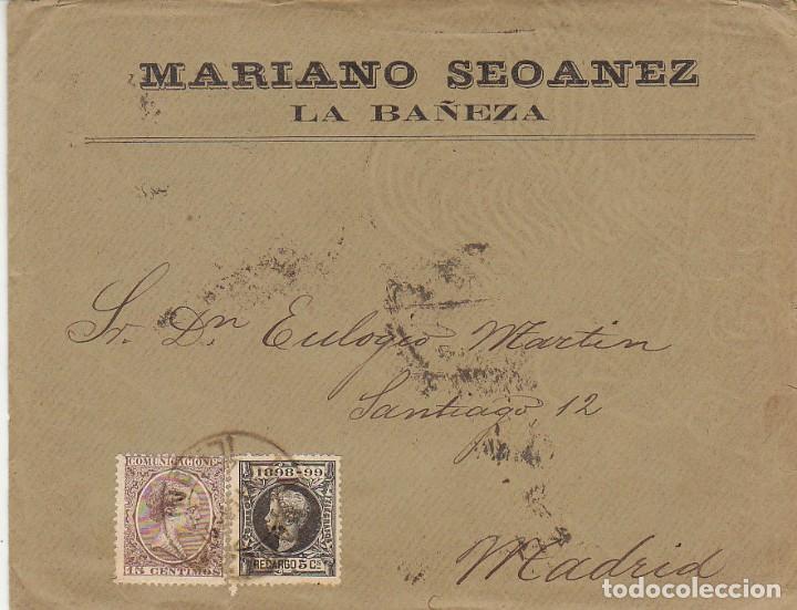 SELLOS 219-240. ALFONSO XIII. LA BAÑEZA (LEÓN) A MADRID.1900. (Sellos - España - Alfonso XIII de 1.886 a 1.931 - Cartas)