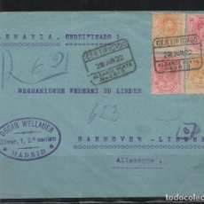 Sellos: ESPAÑA=CARTA ALFONSO XIII_MADRID A HANNOVER ALEMANIA_VER FOTOS. Lote 171337215