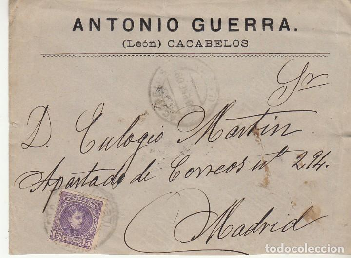 SELLO 246. ALFONSO XIII. CACABELOS (LEON) A MADRID. 1909.BONITO FRANQUEO TEXTO INTEGRO VER FOTOS ADI (Sellos - España - Alfonso XIII de 1.886 a 1.931 - Cartas)
