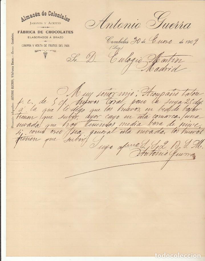 Sellos: Sello 246. ALFONSO XIII. CACABELOS (LEON) a MADRID. 1909.Bonito franqueo texto integro ver fotos adi - Foto 3 - 171361760