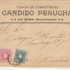 Sellos: SELLOS 242-243. ALFONSO XIII. LA TOBA (GUADALAJARA) A MADRID. 1907.. Lote 171530213