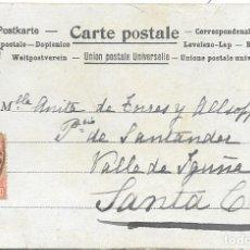 Sellos: SANTANDER. VALLE DE IGUÑA. TARJETA POSTAL CIRCULADA DE SANTANDER A SANTA CRUZ 1901. Lote 172642237