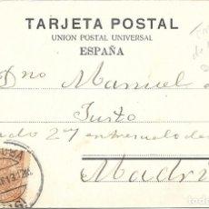 Sellos: FRAUDE AL CORREO. TARJETA POSTAL CIRCULADA DE CORDOBA A MADRID. 1913. Lote 172642834