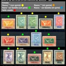 Sellos: SERIE COMPLETA - EDIFIL 517/530 - QUINTA DE GOYA EN LA EXPOSICIÓN DE SEVILLA - 1930 - REF707. Lote 173514690