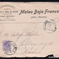 Sellos: F6-9- CARTA JUBIA CORUÑA 1910. . CON TEXTO. Lote 173610338