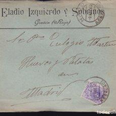 Sellos: F6-27- CARTA GRAÑÓN MATASELLOS HARO . LOGROÑO 1910. CON TEXTO. Lote 173658310