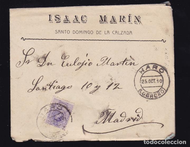 F6-27- CARTA SANTO DOMINGO DE LA CALZADA . LOGROÑO 1910. CON TEXTO (Sellos - España - Alfonso XIII de 1.886 a 1.931 - Cartas)