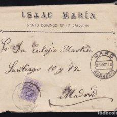Sellos: F6-27- CARTA SANTO DOMINGO DE LA CALZADA . LOGROÑO 1910. CON TEXTO. Lote 173658480