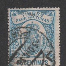 Sellos: 0170 FISCAL - TIMBRE PARA FACTURAS - CORONA REAL - 25 CENTIMOS AZUL. Lote 173779559