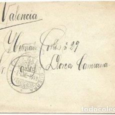 Sellos: FRANQUICIA MINISTERIO DE LA GUERRA - ENERO DE 1919 SOBRE CIRCULADO A VALENCIA. Lote 174079133