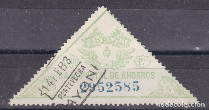 MM28- FISCALES CAJA POSTAL 100 PTAS FORMATO GRANDE (70 X 35 MM). USADO BAYONA PONTEVEDRA (Sellos - España - Alfonso XIII de 1.886 a 1.931 - Usados)