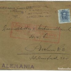 Sellos: BARCELONA CC A ALEMANIA SELLOS ALFONSO XIII. Lote 174615609