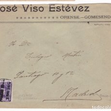 Sellos: F8-14-CARTA CARTERÍA GOMESENDE (ORENSE) 1907. Lote 175226123