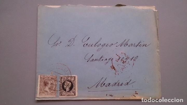 ESPAÑA - 1898 - SOBRE CON CARTA COMPLATA SANTO DOMINGO DE LA CALZADA -MADRID - EDIFIL 219 Y 240. (Sellos - España - Alfonso XIII de 1.886 a 1.931 - Cartas)