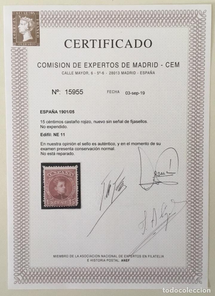 Sellos: 1901/1905-ESPAÑA EDIF. NE11 MNH** ALFONSO XIII TIPO CADETE NE 11 - NUEVO SIN FIJASELLO - CERT. CEM - Foto 3 - 175777977