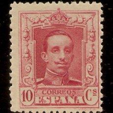 Sellos: ESPAÑA EDIFIL 313** MNH 10 CÉNTIMOS CARMÍN ALFONSO XIII VAQUER 1922/30 NL1544. Lote 175825895