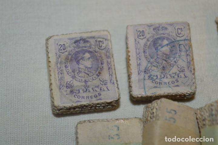 Sellos: Oportunidad 1000 Sellos - ALFONSO XIII - Tipo MEDALLÓN - 20 Cts, Reverso numerados, en pastillas 100 - Foto 2 - 176814012