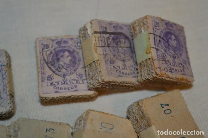 Sellos: Oportunidad 1000 Sellos - ALFONSO XIII - Tipo MEDALLÓN - 20 Cts, Reverso numerados, en pastillas 100 - Foto 3 - 176814012