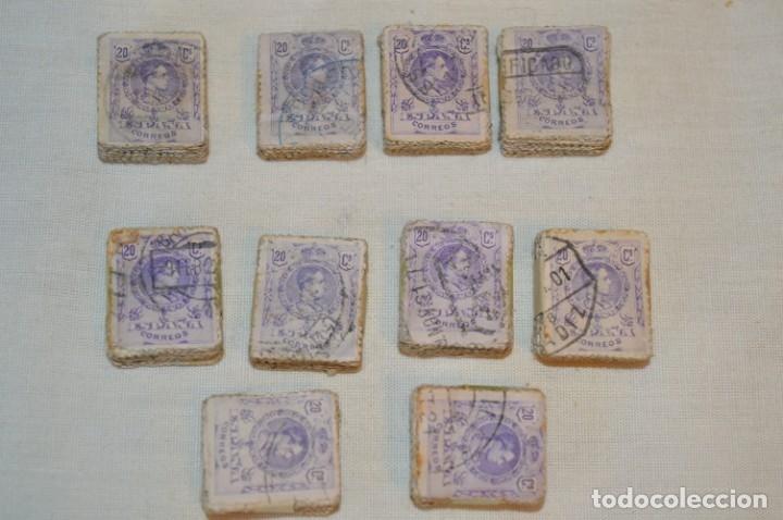 Sellos: Oportunidad 1000 Sellos - ALFONSO XIII - Tipo MEDALLÓN - 20 Cts, Reverso numerados, en pastillas 100 - Foto 6 - 176814012